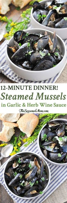 You can pull together a batch of Steamed Mussels in Garlic and Herb Wine Sauce for a simple and fresh seafood dinner that's on the table in just 12 minutes!