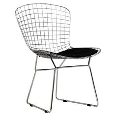 Black on White Bertoia Dining Chair