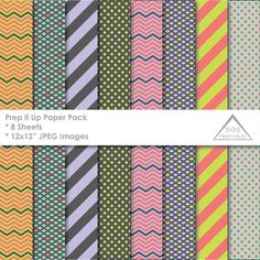 Prep it up Paper Pack, Preppy Paper Pack, Digital Papers, Geometric patterns, Digital Scrapbooking, Background Design, Printable Papers  ~ 8 JPEG