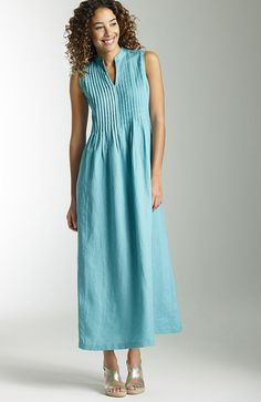 Pleated Linen Maxi Dress in Pacific by J.Jill