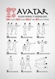 Avatar, The Last Airbender workout Fitness Workouts, Fun Workouts, Yoga Fitness, At Home Workouts, Nerd Fitness, Programe Sport, Superhero Workout, Martial Arts Workout, Boxing Workout