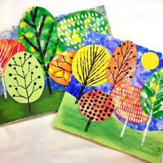 In the Art Room: Collaged and Printed Landscapes (Cassie Stephens) Fall Art Projects, Art Projects For Adults, Toddler Art Projects, School Art Projects, Diy Projects, Kindergarten Art, Preschool Art, Art 2nd Grade, Fourth Grade
