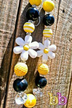 Daisy Flower Chunky Bead Necklace Girls Baby Jewelry Sequins Toddler Rhinestone Yellow Black White Gumball Beads 20mm