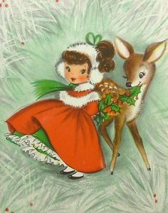 xmas girl & holly deer