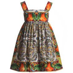 'Majolica' Cotton Dress, Dolce & Gabbana, Girl