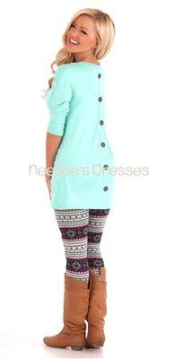 Mint Pocket Tunic with Button Back Details, modest top, modest shirt, fall shirt, trendy modest clothing, modest clothing, modest dress, mod...
