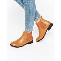 Park Lane Flat Chelsea Boots ($36) ❤ liked on Polyvore featuring shoes, boots, ankle booties, tan, tan chelsea boots, slip on boots, chelsea bootie, flat chelsea ankle boots and faux-fur boots