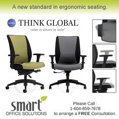 Takori is Global's first ergonomic series to feature a Synchro-Tilter with back angle adjustment, side activated tilt-tension and sliding seat depth adjustment. Smart Office, Tilt, Home Decor, Decoration Home, Room Decor, Interior Decorating