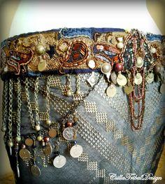 Karamell Bella - braun-dunkel lila tribal Fusion Bellydance Gürtel, Kostümteile