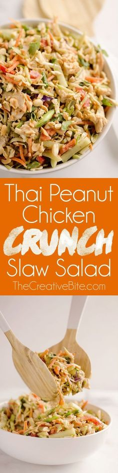 Thai Peanut Chicken Crunch Slaw Salad is an easy & healthy 20 minute salad loaded with fresh vegetables, flavor and crunch for a hearty lunch or dinner! Thai Peanut Chicken Crunch Slaw Salad is an easy & healthy 20 minute salad loade. Healthy Drinks, Healthy Eating, Healthy Recipes, Diet Recipes, Recipies, Dinner Salads Healthy, Tai Food Recipes, Easy Healthy Appetizers, Easy Healthy Lunch Ideas