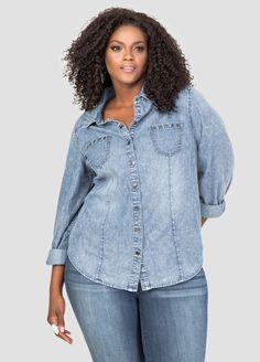 90d54617fd4 Grommet Pocket Denim Shirt Grommet Pocket Denim Shirt Plus Size Jeans