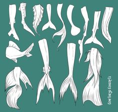 Drawing the tails of mermaids ( fish ). Picture. Art.