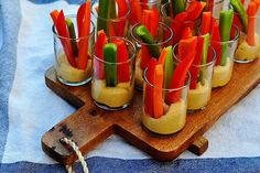 hummus and veggies in glasses | For your DIY Wedding Barbecue: - Veggies in glass jars