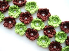 Crochet Bracelet Crochet Flowers Spring Green Brown