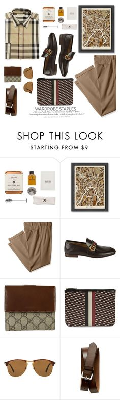 """""""Mad for Plaid"""" by italist ❤ liked on Polyvore featuring W&P Design, Americanflat, Izod, Gucci, Pierre Hardy, Persol, H&M, Banana Republic, Burberry and men's fashion"""