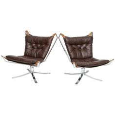 A Pair of Sigurd Resell Chrome and Leather Falcon Chairs, Finland | From a unique collection of antique and modern chairs at http://www.1stdibs.com/furniture/seating/chairs/