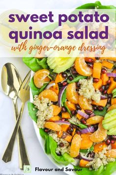 This Sweet Potato Quinoa Salad is made with roasted sweet potatoes, mandarin oranges and avocado on a bed of healthy greens. It's tossed with a to-die-for orange-ginger dressing. It's SO fresh and delicious! #winter #mandarins #avocado #healthy