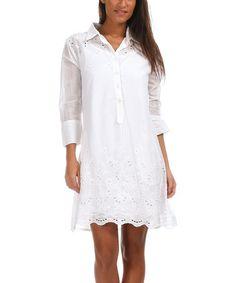 Loving this White Embroidered Eyelet Shirt Dress on #zulily! #zulilyfinds
