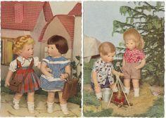 2 x AK KÄTHE KRUSE Puppe um 1959 Puppen mit Ranzen und am Lagerfeuer