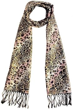 "Warm and soft woven animal print scarf in multi colors black brown beige and dusty pink accented with 3 1/4"" skinny black fringe trims.  Measures 16 1/4""W X 78""L  Animal Print Scarf by L'Imagine. Accessories - Scarves & Wraps Portland Oregon"