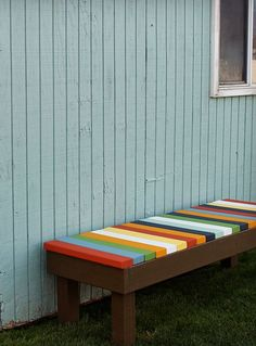 DIY Colorful Outdoor Bench | Inexpensive DIY Backyard Furniture for Kids by DIY Ready at diyready.com/diy-projects-backyard-furniture/