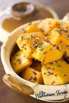 Butternut Squash with Browned Butter and Sage | Perfect, scrumptious comfort food for just 72 calories! | For MORE RECIPES please SIGN UP for our FREE NEWSLETTER www.NutritionTwins.com
