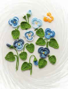 Crochet+el+Applique++flores+pensamiento+Viola+y+por+CraftsbySigita
