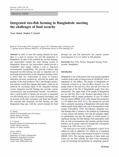 Integrated Rice Fish Farming In Bangladesh Meeting The Challenge Of Food Security Speech Outline Narrative Essay Personal Narratives On