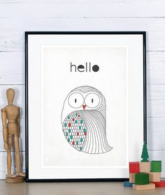 Retro poster in Scandinavian style  owl  simple by EmuDesigns, $19.00