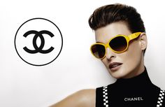 Linda Evangelista : Chanel's Spring/Summer 2012 eyewear, photographed by Karl Lagerfeld. This Spring/Summer collection features an array of brilliant colours including blue, pink, red, orange and yellow in a variety of popular frame styles such as aviator, cat and dragonfly-inspired variations.