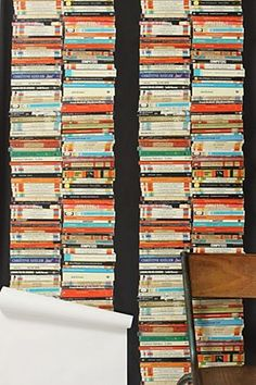 stacked paperback wallpaper from anthropologie. this reminds me of shakespeare & co. you can order free samples of wallpaper from the website. Book Wallpaper, Chic Wallpaper, Unique Wallpaper, Perfect Wallpaper, Wallpaper Ideas, Amazing Wallpaper, Eclectic Wallpaper, Wallpaper Bookshelf, Office Wallpaper