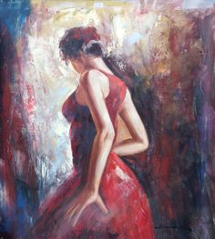 Lady in Red Oil Painting