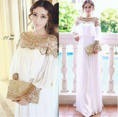 2016 High fashion chiffon pleated dress luxury beading long sleeve long dress women's loose waist mopping the floor dress