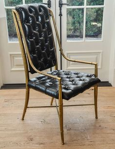 Set of Eight 1970s Mastercraft Brass and Leather Dining Chairs | From a unique collection of antique and modern dining room chairs at https://www.1stdibs.com/furniture/seating/dining-room-chairs/