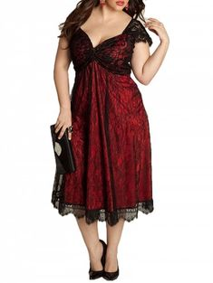 88c9b8b0d2e European and American Large Size Elegant Lace Stitching V-Neck Gothic Dress  - RED 3XL