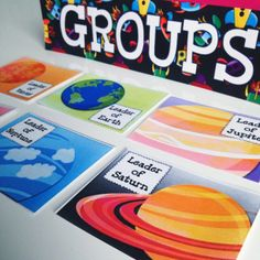 """SPACE Themed Grouping Cards - If you are doing a space or solar system theme, this resource will be sure to brighten your classroom! It contains: * """"Groups"""" Heading * Six """"Planet Leader"""" Cards (Mars, Neptune, Venus, Jupiter, Earth, Saturn) * Six differently themed cards with space to write students' names $"""