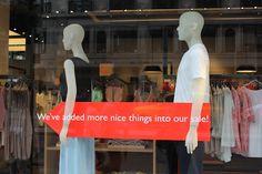 , pinned by Ton van der Veer Sale Signage, Retail Signage, Window Display Design, Store Window Displays, Retail Windows, Store Windows, Sale Campaign, Window Shopper, Clothing Displays