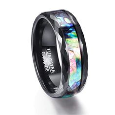 This Tungsten Carbide ring with Abalone shell and wood inlay is specially designed to provide a comfortable fit. The abalone shell and the wood texture gives the ring a subtle and unique juxtapositionwhich brings a rustic and elegant look. Tanzanite Engagement Ring, Leaf Engagement Ring, Tanzanite Ring, Wedding Engagement, Black Tungsten Rings, Tungsten Wedding Rings, Tungsten Carbide Rings, Promise Band, Thing 1