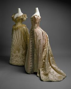 Ball gown House of Worth  (French, 1858–1956) Designer: Jean-Philippe Worth (French, 1856–1926) Date: ca. 1892 Culture: French Medium: silk, crystal Dimensions: Length at CB (a): 14 3/4 in. (37.5 cm) Length at CB (b): 60 in. (152.4 cm) Credit Line: Gift of Orme Wilson and R. Thornton Wilson, in memory of their mother, Mrs. Caroline Schermerhorn Astor Wilson, 1949
