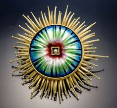 Sea Anemone Pin/Pendant by Amy Roper Lyons, via Flickr.  18k gold, basse-taille enamel, pearl. Copyright © Amy Roper Lyons 2005