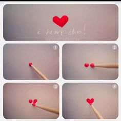 """My """"mani"""" Valentine:  Make a heart with nail polish.  Make three dots and connect them.  Try accenting just one finger.  Also, try bending a bobby pin straight.  Use the small bulb on the end for control."""