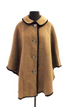 cape en laine Vintage - années 1960 Loden King Lodencoat tan manteau cape en laine
