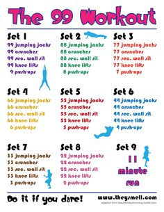 The 99 Workout - Have you got what it takes? This will burn massive calories and tone your whole body! You WILL be sore ;-) #toned #fitness #motivation