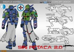 Knight of Montesa - Human Sphere Character Model Sheet, Character Concept, Character Art, Concept Art, Infinity Art, Infinity The Game, Sci Fi Armor, Cyberpunk Character, Sci Fi Characters