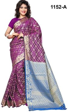 Remarkable Shaded Purple Silk Saree Fabric:-Cotton Silk Work:-Zari Weaving Paired with the matching blouse piece. Indian Silk Sarees, Art Silk Sarees, Silk Sarees Online, New Dress Collection, Saree Collection, Designer Silk Sarees, Designer Sarees Online, Lehenga Choli, Sari