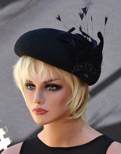 Black Hat, Winter Wedding Hat, Derby Hat, Cocktail Hat, Fascinator, Funeral Hat, Ladies Formal Winter Hat, Event Hat, Dress Hat Church Hat