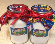 Quart Size Super Hero Mason Jar Sugar Cookie Mix - Label Can Be Personalized With Your Text