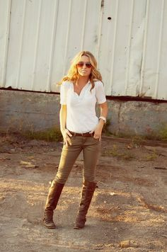 White shirt, brown boots and khaki skinny jeans. - Click image to find more Women's Fashion Pinterest pins