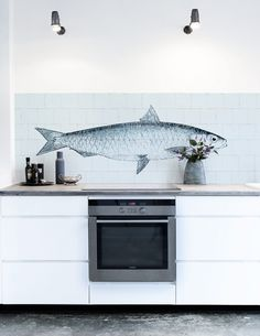 FISH (2 dessins) kitchen walls behang, kan ook over tegels