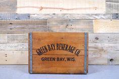 RARE Vintage GREEN BAY Beverage Company Crate, Green Bay, Wisconsin, Vintage Wood Soda Crate